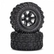 Tires & wheels (X-Maxx black wheels/ Maxx AT tires) (2)