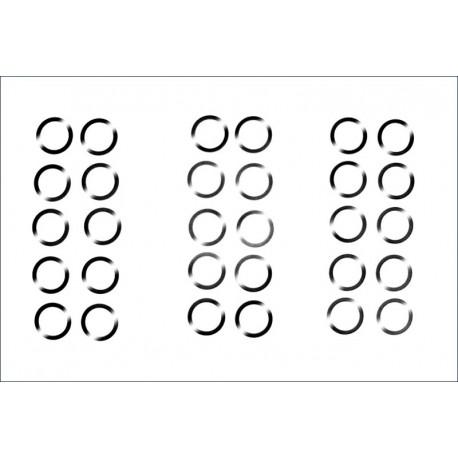 Säätölevy, 5x7mm, 0.1/0.2/0.3mm, 10kpl per
