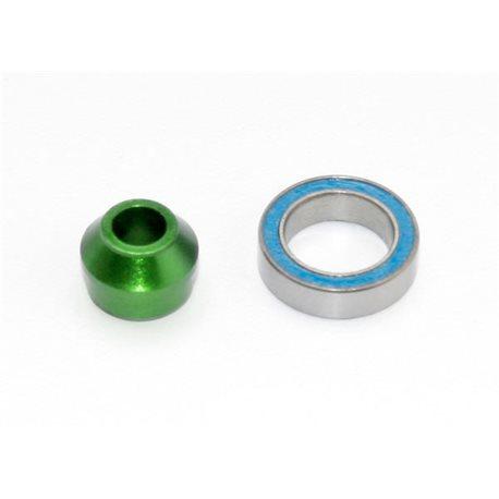 Bearing Adapter Alu Green with Ball Bearing 10x15x4mm