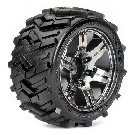 Roapex Stadium Truck 1:10 tyre MORPH on Chrome Black wheels 12mm